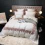 伊迪梦家纺 北欧简约高精密全棉四件套60支长绒棉纯色床上用品纯棉蕾丝花边六件套YM07