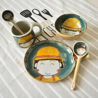 创意餐具套装日式小丸子饭碗盘勺可爱马克杯子