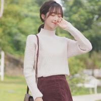 19新款秋冬半高领毛衣女宽松套头钩花针织衫长袖加厚打底衫