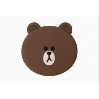 韩国line布朗熊ins卡通迷你随身小镜子便携式立体硅胶补妆镜