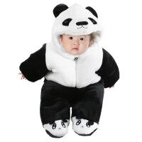 冬装婴儿连体衣加厚宝宝熊猫哈衣包脚新生儿棉衣服外出抱衣秋冬季 熊猫包脚款 59码(建议新生儿-3个月)