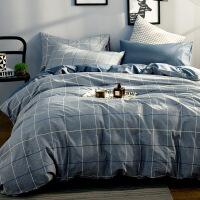 简约四件套全棉纯棉1.8m床单被罩被单被套宿舍单人床上三件套1.5m简约条纹四件套定制