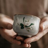 【热卖新品】旧瓷社 陶瓷品茗杯茶杯茶盏主人杯个人单杯汝窑开片可养功夫茶具
