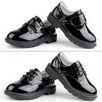 儿童黑色英伦礼服演出鞋软底漆皮小孩学生大男孩男童皮鞋