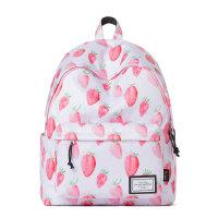 女包时尚休闲草莓印花双肩包清新百搭背包