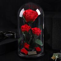 永生花礼盒玻璃罩玫瑰保鲜花圣诞节礼品情人节送女友生日礼物