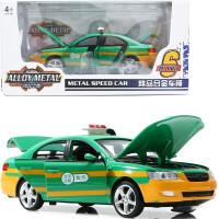 儿童玩具仿真小汽车1:32合金车模型六开门出租的士警察车回力声光 深