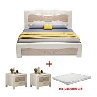 【优选】中式实木床1.8米白色主卧公主双人床现代简约1.5米储物高箱结婚床 +10CM乳胶椰棕床垫 1800mm*20