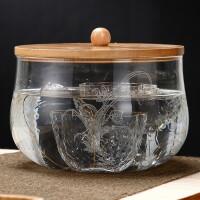 唐丰玻璃带盖杯洗家用可蒸煮的茶洗竹盖日式茶杯收纳碗透明水盂