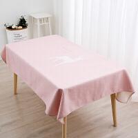 北粉蓝简约餐桌布艺圆桌布长方茶几布客厅餐厅多用盖巾台布mmm定制