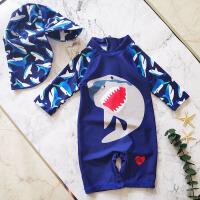 男童连体鲨鱼游泳衣宝宝泳装小男孩泳装儿童长袖泳衣