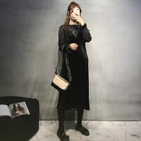 孕妇秋装连衣裙时尚款2018新款潮妈亮丝吊带裙两件套宽松长裙套装 黑色