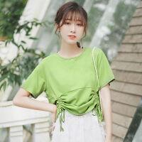 2019夏新款少女纯色抽绳短袖t恤宽松设计感短款上衣抹茶绿T