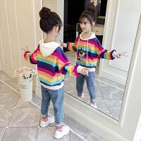2019秋季新款女孩时髦童装中大童儿童卫衣女童洋气套装