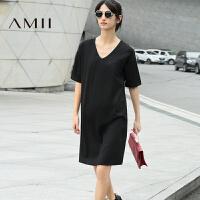 AMII[极简主义] 2017年春新纯色简约百搭弹力宽松V领落肩袖连衣裙女