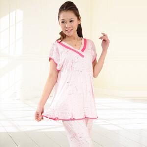 金丰田夏季女士莫代尔无袖中裤睡衣家居套装1727
