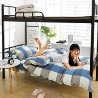 学生宿舍纯棉单人床三件套床单被套床上用品学校上下铺被褥六件套 夏日速写-蓝 【床宽】0.9-1米