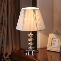 现代简约时尚水晶银灰拉丝台灯卧室床头灯具灯饰 镇宅水晶台灯 银灰拉丝布罩
