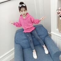 2019新款韩版童装女孩洋气时髦牛仔裤两件套女童秋装套装
