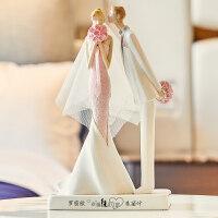 现代简约结婚礼物新婚新人闺蜜摆件创意个性浪漫家居装饰品小摆设 吻定终身情侣摆件(白色)