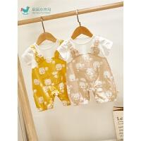 0-3个月宝宝婴幼儿夏装外出服哈衣夏季婴儿衣服可爱薄款连体衣