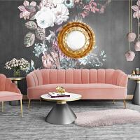 【品牌特惠】北欧布艺轻奢沙发简约ins后现代单人三人绒布沙发组合网红客厅 粉色