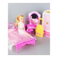 芭比衣柜 芭比娃娃过家家卧室房间套装衣柜大床芭比旋转镜子台灯过家家配件 如图
