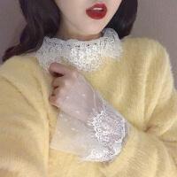 蕾丝打底衫女内搭秋冬新款chic性感百搭镂空网纱钩花翻领长袖上衣