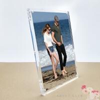 相框摆台水晶创意时尚透明简约像架 6寸7寸八8寸情侣纪念 透明 10寸 洗照片 254*204MM 厚
