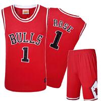 团购 可定制印号 男士篮球服套装 公牛1号德里克罗斯篮球衣裤 训练服