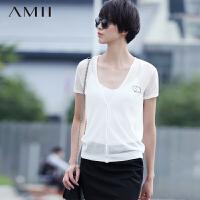 Amii[极简主义]夏秋纯色V领修身百搭开衫短袖薄款针织衫女.