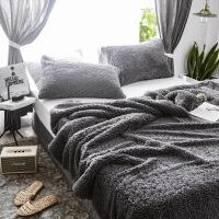 款羊羔绒毯子被套+枕套三件套加厚保暖被罩珊瑚法兰绒毛毯定制