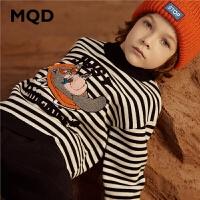 MQD童装男童2019冬季条纹半高领针织衫中大儿童毛衣