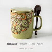 【新品热卖】咖啡杯带盖带勺创意手绘情侣水杯陶瓷杯大容量马克杯欧式学生杯子