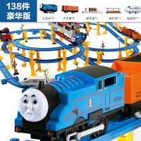 儿童玩具男孩火车电动托马斯轨道火车套装汽车益智和谐号小火车头 卡其色