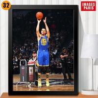 库里装饰画金州勇士队篮球NBA球星海报照片墙*鞋店有框画挂画 卡其色 32 21*33厘米 黑色实木相框