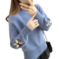 【今日必抢】百搭毛衣女冬新款百搭冬季学生上衣宽松绣花短款套头半高领针织衫
