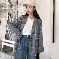 三木子快时尚女装~早春新款韩国复古格子西装外套女宽松长袖开衫