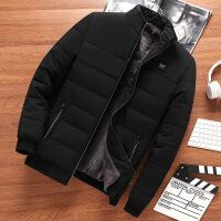 爸爸装冬季保暖外套加绒加厚中年男士棉衣40老年棉袄50岁秋冬 黑色 M