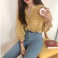 春季韩国女装ins风复古格子长袖棉麻衬衫上衣百搭显瘦单排扣衬衣