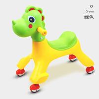W新款儿童扭扭车1-3岁男女宝宝溜溜车万向轮妞妞滑行摇摆车子玩具O 绿色 送牵引绳备用轮