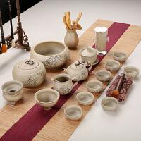 【好店】古陶复古家用粗陶紫砂茶具黑陶功夫陶瓷茶盘套装茶壶茶杯