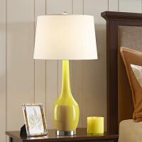【品牌特惠】现代台灯彩色陶瓷卧室书桌客厅简约个性床头灯温馨美式田园装饰灯