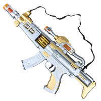 宜佳达 2岁宝宝玩具枪儿童电动男孩子发声光音乐小孩冲锋枪3-4-5-6岁六一儿童节礼物 【普通版】银色冲锋枪