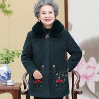 中老年人女装秋冬装毛呢外套雪貂绒大衣服妈妈60岁70老人奶奶太太