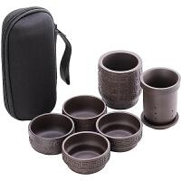 唐丰紫砂一壶四杯便携旅行茶具户外收纳小包浮雕简约快客杯陶瓷