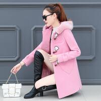 2018新款韩版秋冬季中长款毛呢小外套女学院风气质牛角扣呢子大衣