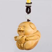 黄杨木木雕动物十二生肖福猪手把件汽车挂件家居工艺礼品精品