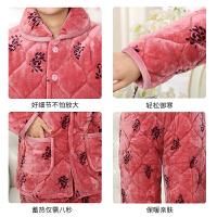 秋冬季睡衣加厚女士套装三层夹棉袄保暖中老年人大码家居服