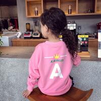 女童卫衣套装女童卫衣秋装2018新款儿童长袖上衣洋气小女孩衣服字母印花打底衫XM-3 粉红色 现货